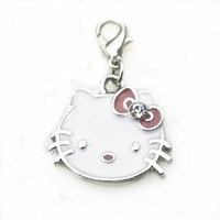 Hot selling 20pcs/lot Hello Kitty Dangle Charms Cat Lobster Clasp Charms Diy Jewelry Accessory Hanging Charms for Bracelets