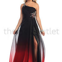 Ombre One Shoulder Gown Rhinestones Sheer Overlay Thigh Slit Prom Dress Event