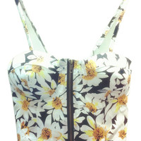 Black Daisy Printed Strappy Crop Top with Zipper