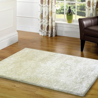 Solid Snow White Shag Area Rug Amore collection Hand Tufted Weave