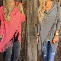 Womens Capes And Ponchoes 2016 Autumn Winter Women Fashion Candy Colors Tassel Pullovers Plus Size Women Knitted Sweater A1276