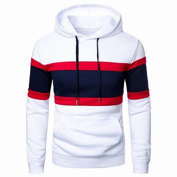 Men's Tricolor Splicing Hooded Sweaters