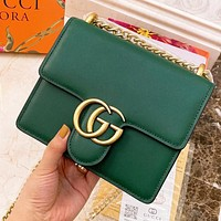 Hipgirls GUCCI Fashion New Leather Chain Shoulder Bag Crossbody Bag Green