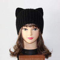 Black Cat Hat, Knit Cat Ears Hat or Cat Beanie, Women Cat Hat, art. 16