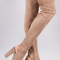 """Bamboo Stretchy Fitted Over-The-Knee Open Back Suede Boots Knee High Boots Heel Height: 4.5"""" Shaft Length: 25"""" (including heel) Top Opening Circumference: 14.75"""" Light Taupe & Black"""