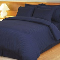 Navy Damask Stripe Down Alternative 4-pc Comforter Set 100% Combed cotton 600 Thread count