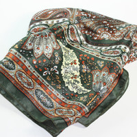 Rust Olive Green and Cream Paisley and Floral Scarf Square Vintage