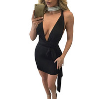 Fashion Slim Backless Package Hip One Piece Dress _ 12570