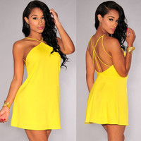 Yellow Strappy Cutout Back Halter Skater Dress