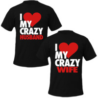 i love my crazy husbend/wife Couple Tshirts