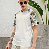 Fashion Casual Men Tropical Print Raglan Sleeve Tee