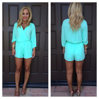 Mint Madison 3/4 Sleeve Romper