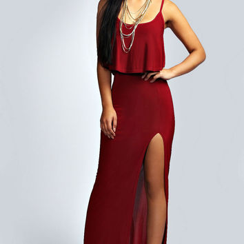 Straps Double Layered Maxi Dress With Slit
