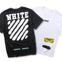 OFF WHITE  Round-neck Short Sleeve Stripes T-shirts [11501030796]