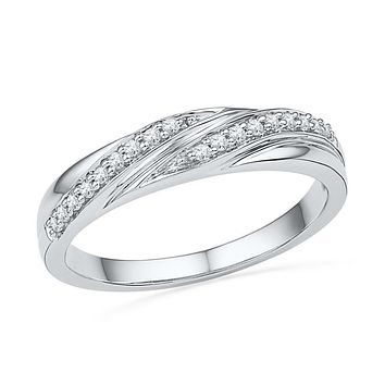 10kt White Gold Womens Round Diamond Simple Band Ring 1/10 Cttw 101522