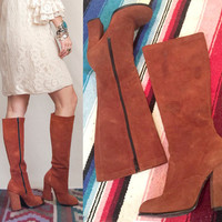 70s Rust Suede Knee High Boots by Zodiac - Womens Size 7 | Caramel Brown Tan Leather Stacked Heel Boho chic tall gogo disco 60s riding boots