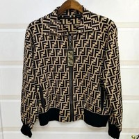FENDI Fashionable Women Personality Jacquard Knit Lapel Zipper Sport Jacket Coat Coffee
