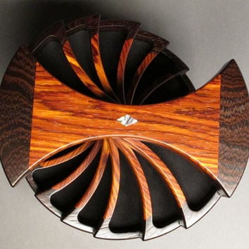 Jewelry Box with Secret Compartments, Wenge and Cocobolo, 'The Helical Box'