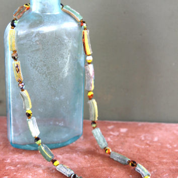 Ancient Roman Glass Necklace Grass Green with Colorful Stripes and Dots and Tiny Artisan Czech Glass Beads Carnival Colors Fun Jewelry