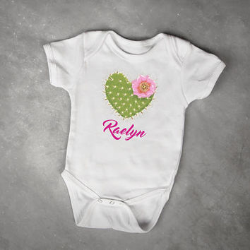 Hot Pink Monogram + Cactus Flower, Cactus Print Baby Bodysuit, Southwestern Baby Shower Gift, Baby Girl Clothes, Cowgirl Birthday Outfit