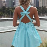 Xenia Boutique Baby blue Cut bow back mini dress from xeniaeboutique