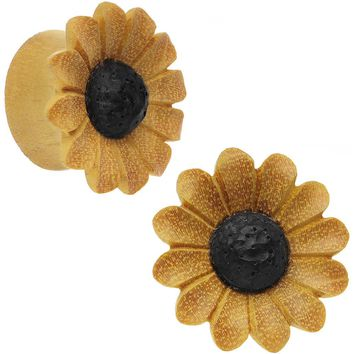"7/8"" Organic Blonde Wood Fresh SunFlower Saddle Plug Set"