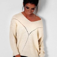 Oklahoma Cream Chunky Sheer Knit Jumper | Pink Boutique