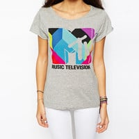 Music Television Print Short Sleeve Graphic Tee