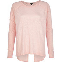 River Island Womens Light pink linen split back top