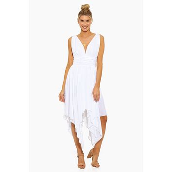 Goddess Asymmetric Midi Dress - White