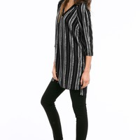 Front-And-Back V-Neck Woven Tunic