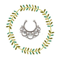 Boho Silver Fake Nose Ring, Round Bubbles Faux Septum Piercing