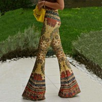 Women Lady Africa Skinny Ankle Length Straight Slim Stretch Flare Pants Trousers