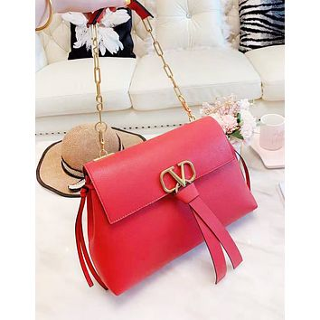 Valentino New fashion leather high quality chain high quality shoulder bag women Red