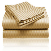 Cozy Home 1800 Series Embossed Striped 4-Piece Sheet Set Full - Gold