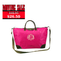 CLEARANCE Monogrammed Fuchsia Longchamp Inspired Weekend Carry On Bag