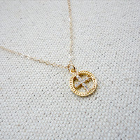Simple Cross Necklace, Cross Circle Necklace, Wedding Jewelry, Bridesmaid Gift, Baptism Gift