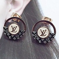 LV semi-hollow-out round letter four-leaf flower ear nail female earring fashion lovely titanium steel earring lady deserve to act the role of
