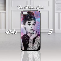 Audrey Hepburn Tattooed, Design For iPhone 4/4s Case or iPhone 5 Case - Black or White (Option)