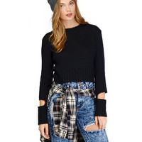 Long Sleeves Ribbed Knitted Cropped Sweater