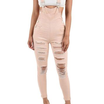 Women's Destroyed Skinny Overalls