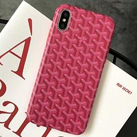 Goyard Tide brand classic letter print iPhone X mobile phone case cover red