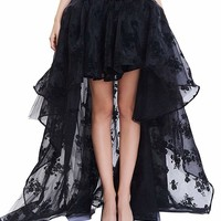 Coswe Women's Black Floral Lace Asymmetrical Victoria Gothic Long Maxi Skirt Party