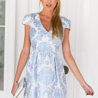 Gold Foil Dress (Blue) | Xenia Boutique | Women's fashion for Less - Fast Shipping