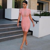 22Pink Circle Embellish Mesh Patchwork Short Sleeves Celebrity Party Style Bandage Dress