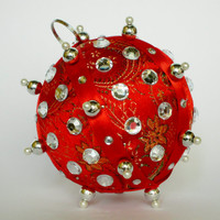 Christmas Ornament, Red Ball with Pearl & Silver Accents in Gift Box, Handmade Fabric Tree Decor Fabric, Holiday Decor, Hostess Present