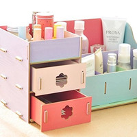 Ning-Store Fashion Creative Wooden Double Drawer DIY Cosmetic Make up Removable Collection Organizer, Jewelry Storage