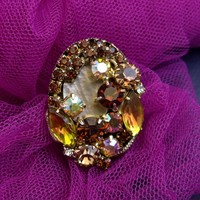 Vintage Topaz HONEY rhinestones ring Royal size adjustable oversize ring