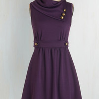 Mid-length Sleeveless A-line Coach Tour Dress in Violet