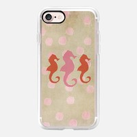 Casetify iPhone 7 Classic Grip Case - Seahorse Trio and Polka Dots Pinky Coral by Lisa Argyropoulos #iPhone 7